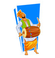 sikh punjabi sardar playing dhol and dancing vector image