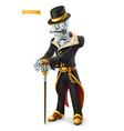 skeleton in retro costume halloween vector image vector image