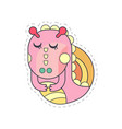 sweet pink dragon with closed eyes cloth patch vector image vector image