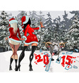 two girls in the New Year costumes stop the sheep vector image vector image