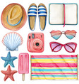 watercolor summer object icon set pink and blue vector image vector image
