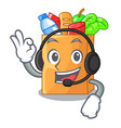 with headphone food bag foil or paper cartoon vector image
