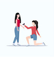 woman lesbian kneeling holding engagement ring vector image vector image
