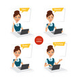 woman makes order online four stages of process vector image vector image