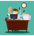 Multitasking Businessman Man at Work in Office vector image