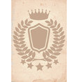 old paper texture with heraldic emblem vector image