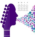 A 2017 calendar with a guitar headstock man vector image