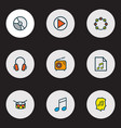 audio icons colored line set with drum vinyl vector image vector image