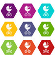 baby carriage star icons set 9 vector image vector image