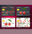 bank credit card design with sweet cherry vector image vector image