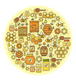 beekeeping product icon set of cute various hone vector image vector image