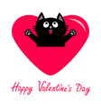 black cat and pink heart icon cute funny cartoon vector image