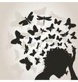 Butterflies from a head3 vector image