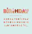 cake cartoon font cute sweet alphabet vector image vector image