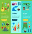cartoon symbol of hawaii banner vecrtical set vector image