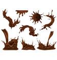 chocolate splash realistic set vector image vector image