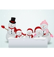 Christmas card with snowman and family vector image