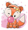 cute fox with bubble gum vector image