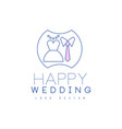 cute line logo design with wedding dress and tie vector image