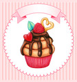 cute watercolor cupcake with raspberry hearts vector image vector image