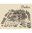 Dubai top view Hand drawn engraved vector image vector image