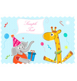 elephant wishing giraffe happy birthday vector image vector image