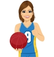female basketball player holding ball vector image vector image