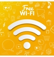 free wi-fi signal on background with doodle vector image vector image