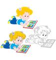 Girl reading vector image