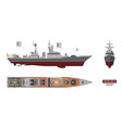 image of military ship top front and side view vector image vector image