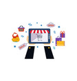 internet shopping male hands holding digital vector image vector image