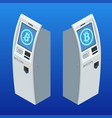 isometric modern bitcoin atm cryptocurrency cash vector image