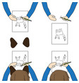 kid with cat ears drawing cat on white paper vector image