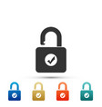 open padlock and check mark icon isolated vector image vector image