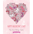 pink grunge background with valentine heart vector image