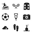 rest in the tent icons set simple style vector image vector image