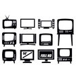 retro and modern tv icons vector image vector image