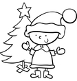 santa claus boy cartoon coloring page vector image