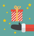 Santa Hand With Christmas Gift box vector image vector image