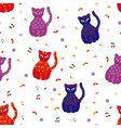 Seamless with various stylized cats vector image
