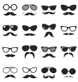 set black hipster mustache and glasses vector image vector image