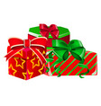 set gift boxes with a green and red ribbon vector image vector image