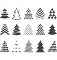 set of 15 stylized Christmas trees vector image