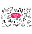 set of christmas design element in doodle style vector image vector image
