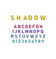 shadow font in colorful color on white background vector image vector image