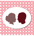 silhouettes of lovers pink fon girl and boy vector image vector image