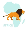 Simple of lion on background africa map vector image vector image