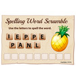 spelling word scrable game with word pineapple vector image vector image