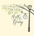 spring landscape with trees in the park and clock vector image vector image