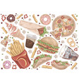 street meal french fries pizza hamburger vector image vector image